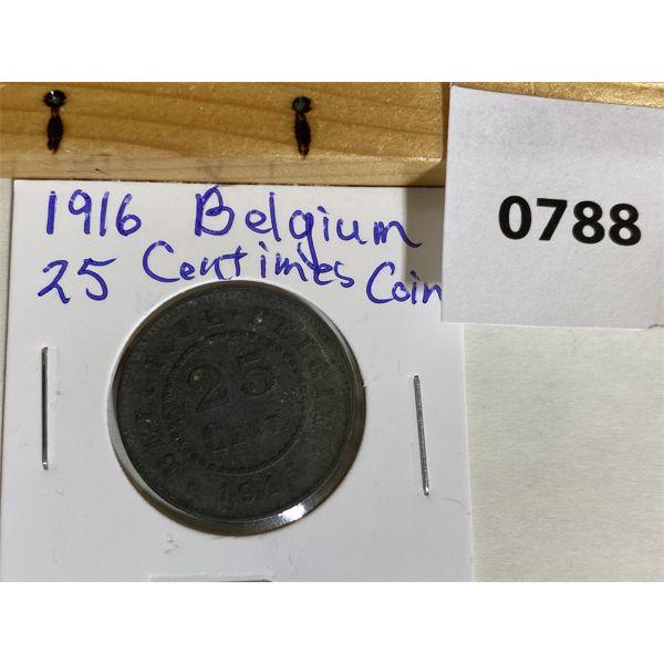 BELGIUM 1916 25 CENTIMES LION COIN