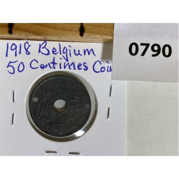 BELGIUM 1918 50 CENTIMES COIN