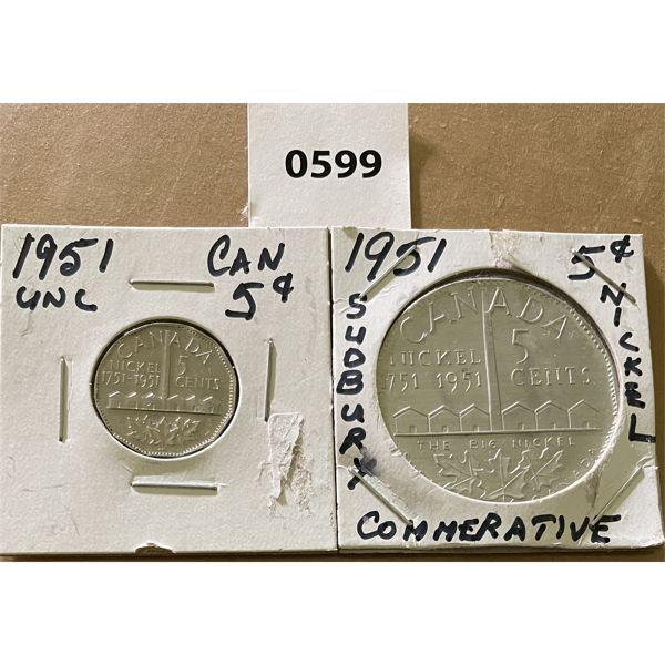1951 CDN NICKEL & SUDBURY COMMEMORATIVE - BOTH UNCIRCULATED