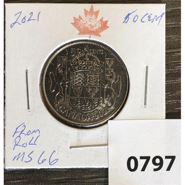 2021 CDN FIFTY CENT PIECE MS66 FROM MINT ROLL