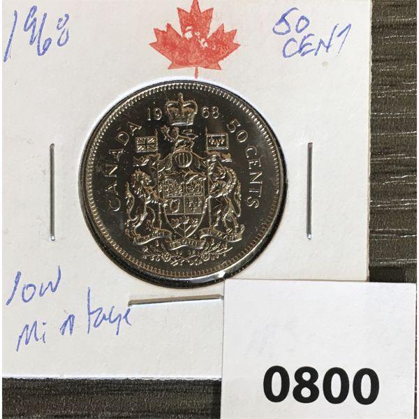 1968 50 CENT PIECE - LOW MINTAGE