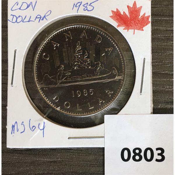 1985 CDN DOLLAR MS 64 FROM MINT ROLL