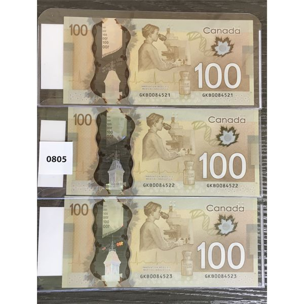LOT OF 3 - CDN SEQUENTIAL $100 BANKNOTES