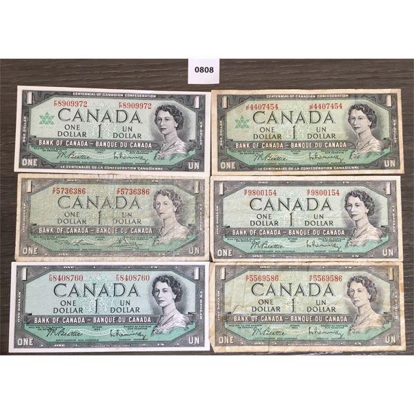 LOT OF 6 - CDN $1 BANKNOTES