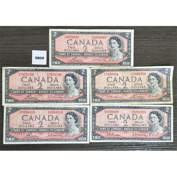 LOT OF 5 - CDN $2 BANKNOTES