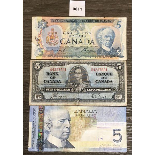 LOT OF 3 - CDN $5 BANKNOTES