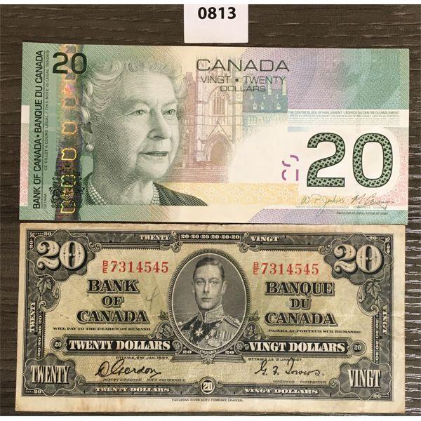 LOT OF 2 - CDN $20 BANKNOTES