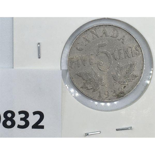 1932 CANADA 5 CENT - FAR 2 AND NEAR S VARIATION