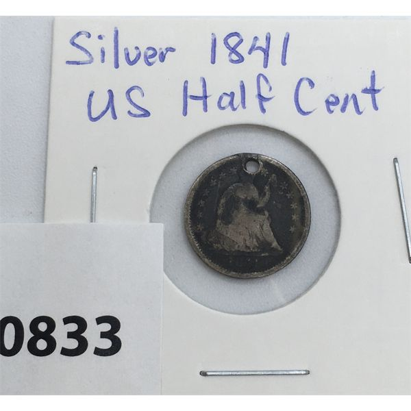 1841 SILVER US HALF DIME