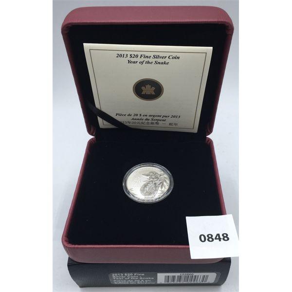 2013 $20 FINE SILVER COIN - PROOF