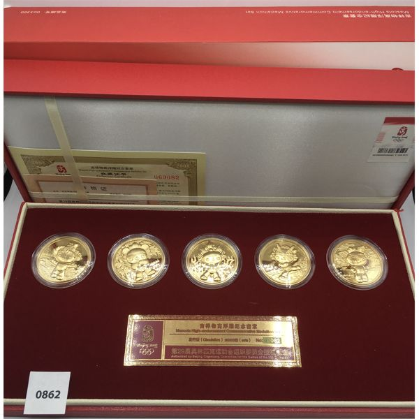 LIMITED EDITION BEIJING OLYMPICS MEDALLION MASCOT COIN SET IN BOX