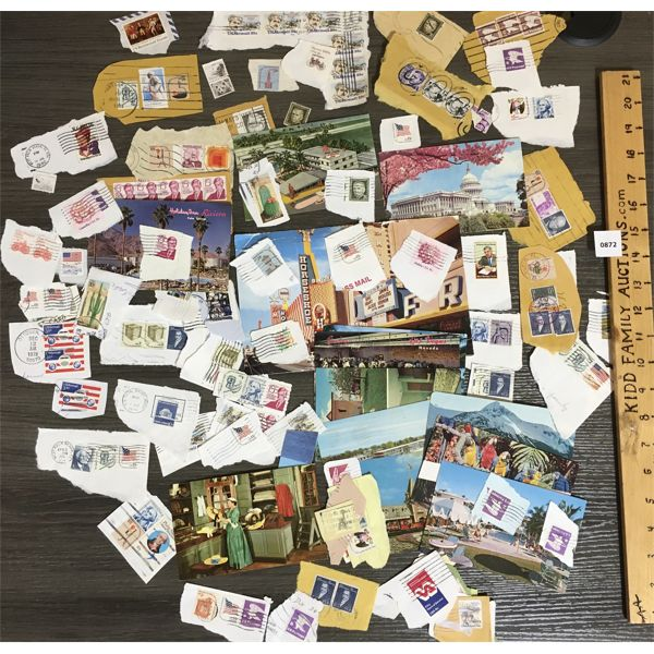 QTY OF MISC AMERICAN STAMPS AND POSTCARDS