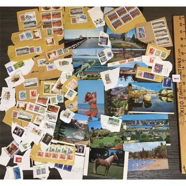 QTY OF MISC CANADIAN STAMPS AND POSTCARDS