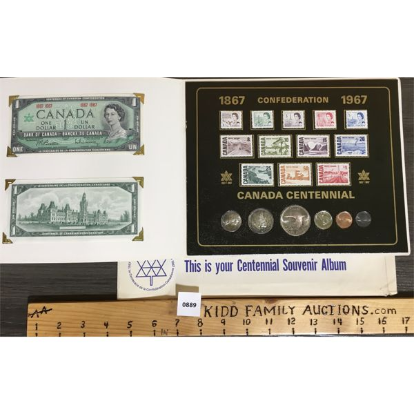 LIMITED ED CONFEDERATION CANADA CENTENNIAL - COIN, STAMPS AND $1 NOTE SET
