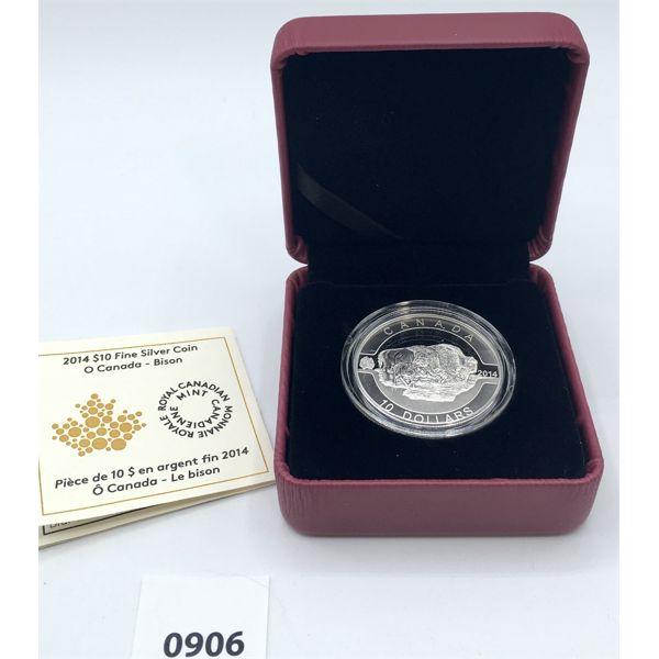 2014 CANADA $10 SILVER COIN - O CANADA BISON