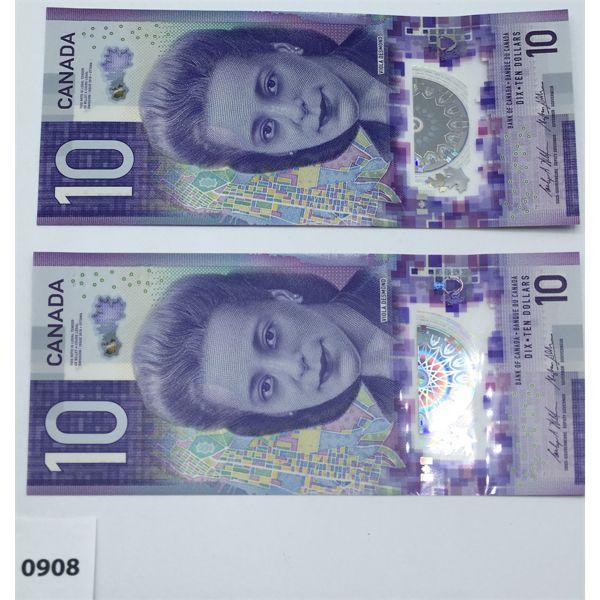 LOT OF 2 - 2018 CANADA $10 BILL CHOICE - UNCIRCULATED