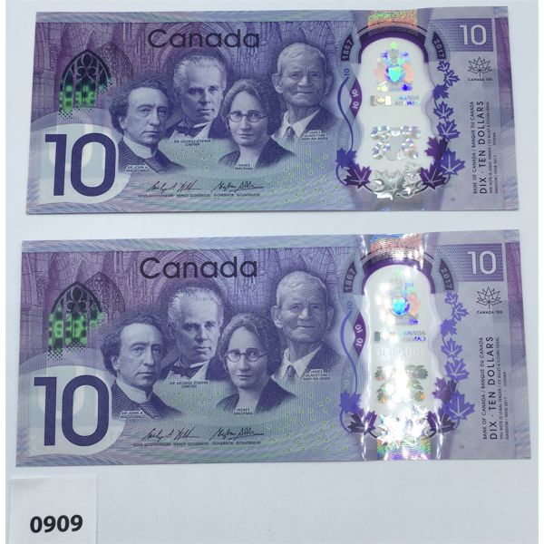 LOT OF 2 - 2017 CANADA $10 BILL CHOICE - UNCIRCULATED