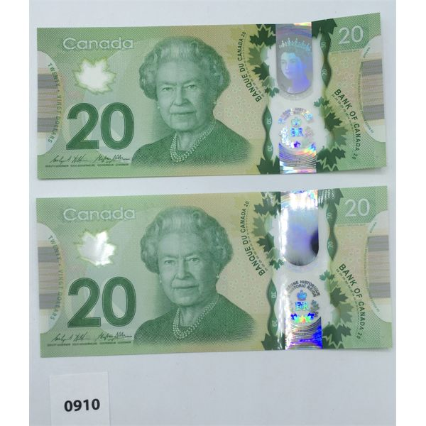 LOT OF 2 - 2012 CANADA $20 BILL CHOICE - UNCIRCULATED