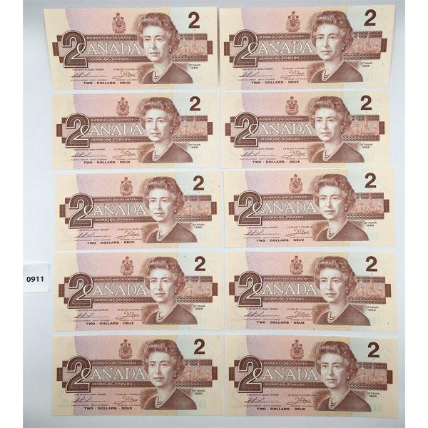 LOT OF 10 - 1986 CANADA $2 BILL CHOICE - UNCIRCULATED