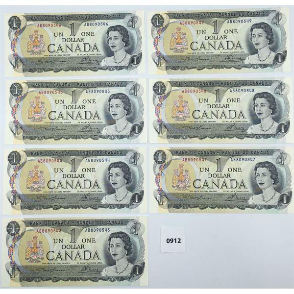 LOT OF 7 - 1973 CANADA $1 BILL CHOICE - UNCIRCULATED