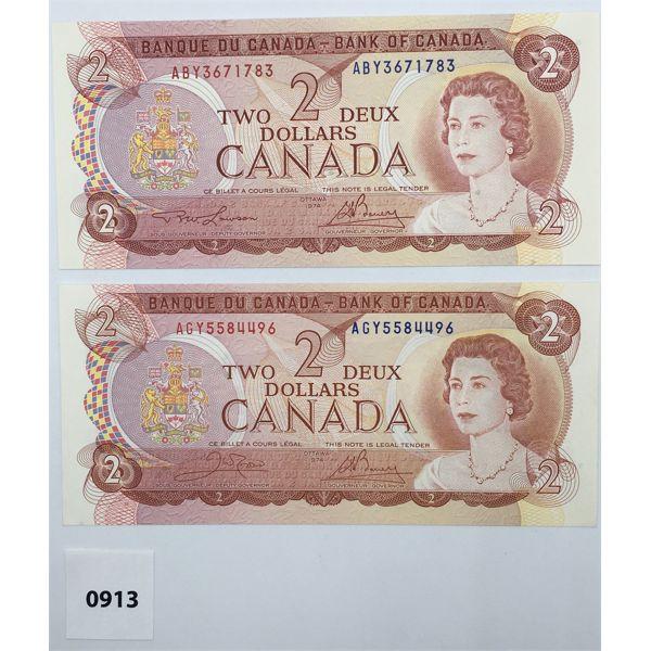 LOT OF 2 - 1974 CANADA $2 BILL CHOICE - UNCIRCULATED