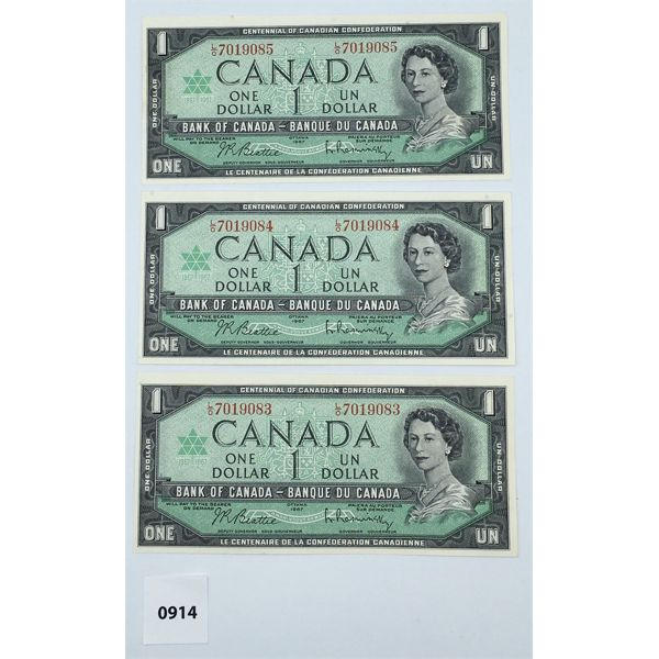 LOT OF 3 - 1967 CANADA $1 BILL CHOICE - UNCIRCULATED