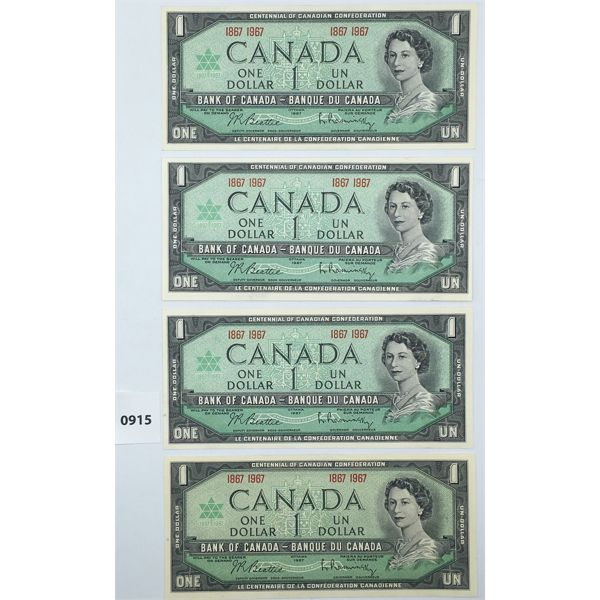 LOT OF 4 - 1967 CANADA $1 BILL CHOICE - UNCIRCULATED