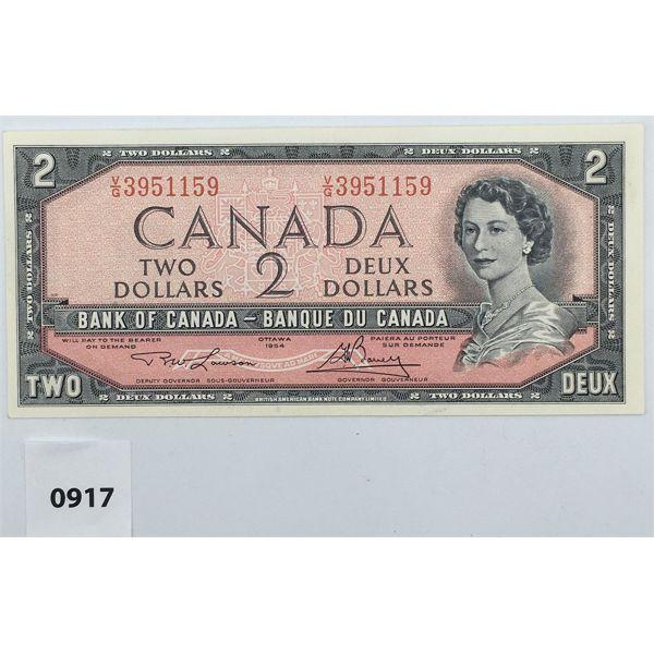 1954 CANADA $2 BILL - ALMOST UNCIRCULATED
