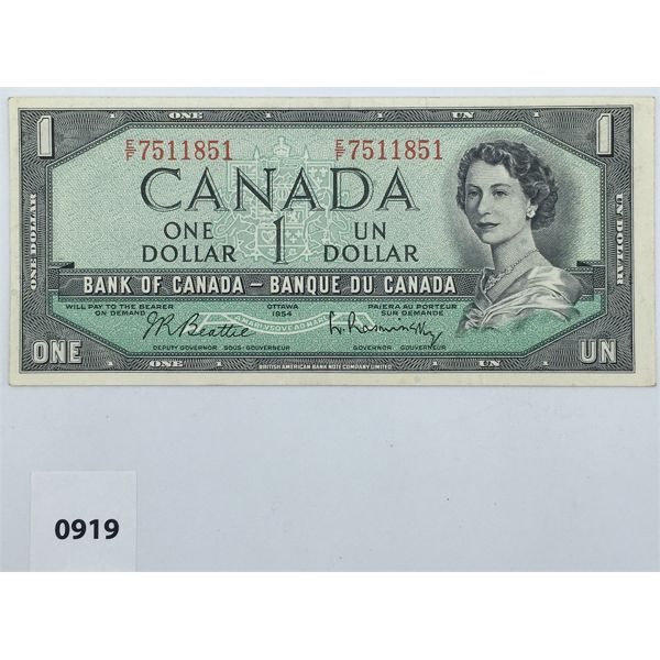 1954 CANADA $1 BILL - CIRCULATED
