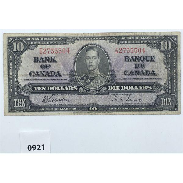 1937 CANADA $10 BILL