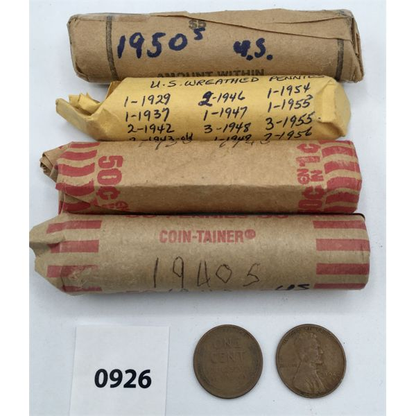 LOT OF 4 - US LINCOLN HEAD PENNY ROLLS - UNSEARCHED AS FOUND