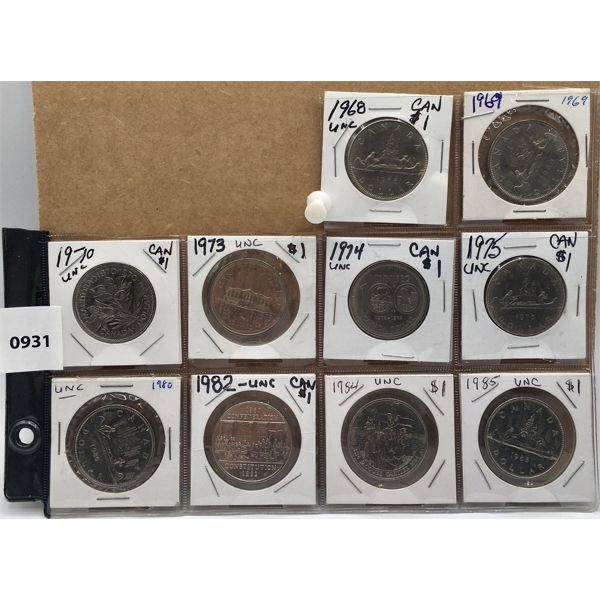 LOT OF 10 - CANADIAN $1 COINS - UNCIRCULATED