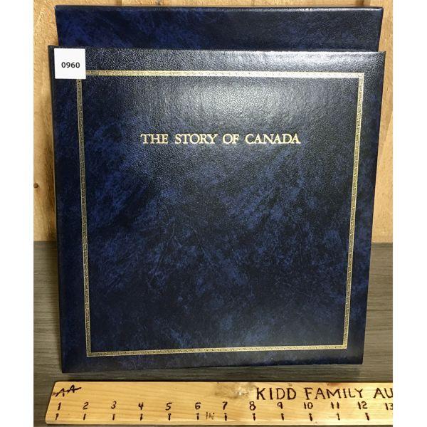 1983 'STORY OF CANADA' 24K GILDED STAMP REFEREMCE BOOK - VOLUME 1