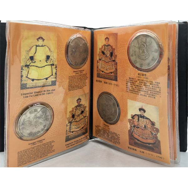 CHINESE REFERENCE BOOK WITH 12 HISTORICAL COINS - SHOWING DATES 1616 TO 1911