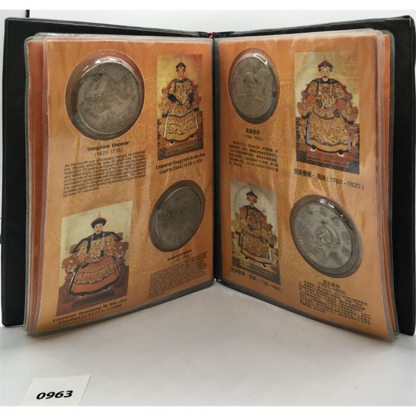 CHINESE REFERENCE BOOK WITH 11 HISTORICAL COINS - SHOWING DATES 1616 TO 1911