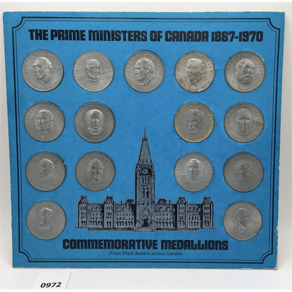 PRIME MINISTERS OF CANADA COMMEMORITVE COIN SET - 1867 TO 1970