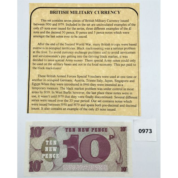 GREAT BRITAIN ARMED FORCES 10 NEW PENCE BILL - UNCIRCULATED - MINT