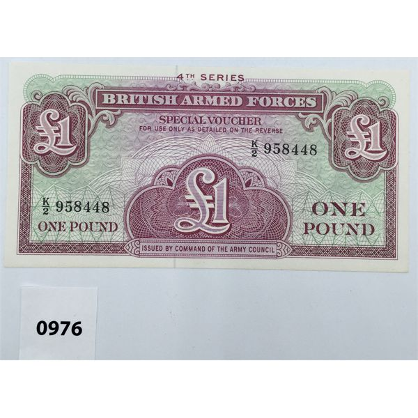 1962 GREAT BRITAIN ARMED FORCES ONE POUND SPECIAL VOUCHER - UNCIRCULATED - MINT - RARE
