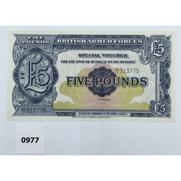 1948 GREAT BRITAIN ARMED FORCES FIVE POUND SPECIAL VOUCHER - UNCIRCULATED