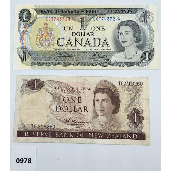 LOT OF 2 - BANK OF NEW ZEALAND ONE DOLLAR BILL & CDN 1973 UNC ONE DOLLAR BILL