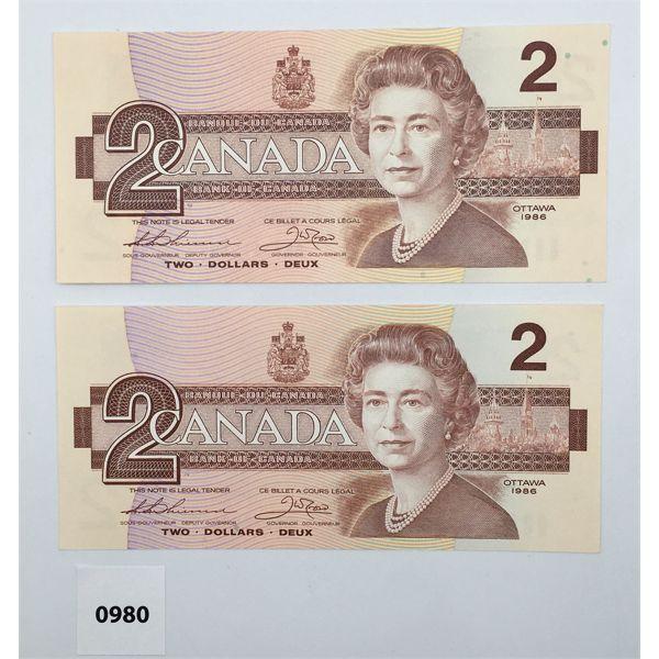 LOT OF 2 - 1986 CDN TWO DOLLAR BILLS - THIESSEN/CROW