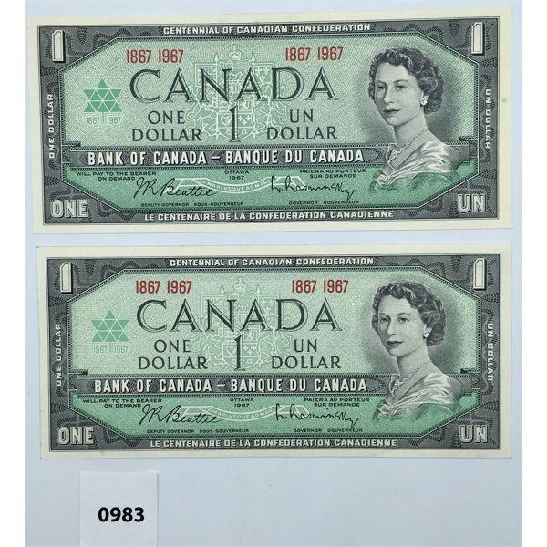 LOT OF 2 - 1967 CENTENNIAL BANKNOTES