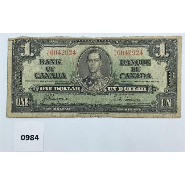 1937 CDN MISCUT DOLLAR BILL - LOW SERIAL NUMBER
