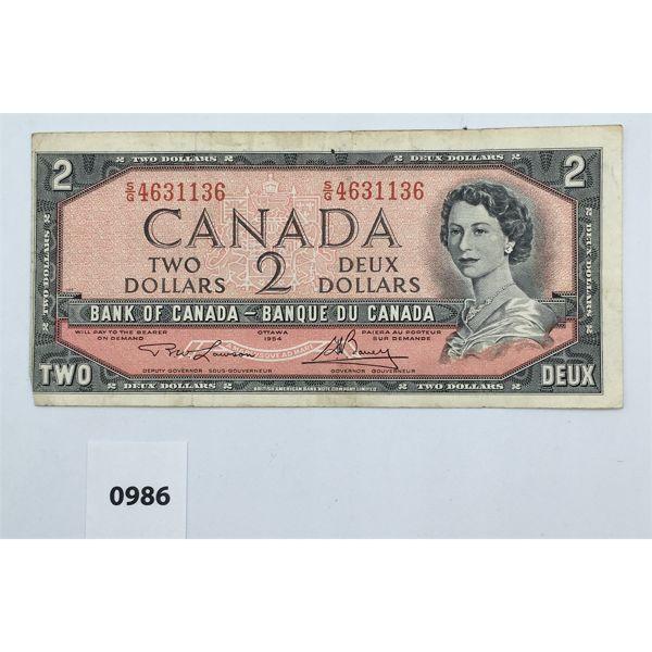 1954 CDN TWO DOLLAR MISCUT BANKNOTE