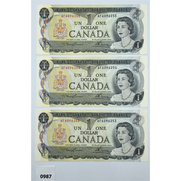 LOT OF 3 - 1973 ONE DOLLAR BANKNOTES - CONSECUTIVE SERIAL NUMBERS