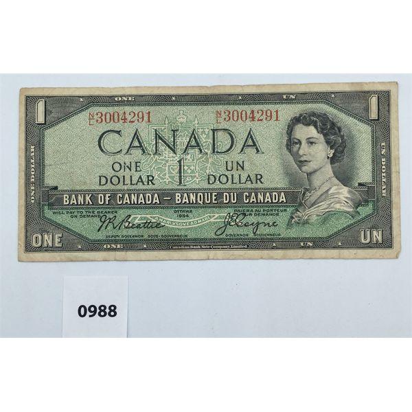 1954 CDN ONE DOLLAR BANKNOTE - STAMPING ERROR