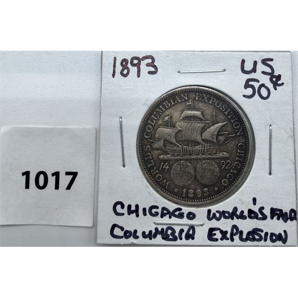 1893 US SILVER FIFTY CENT PIECE - CHICAGO'S WORLD'S FAIR
