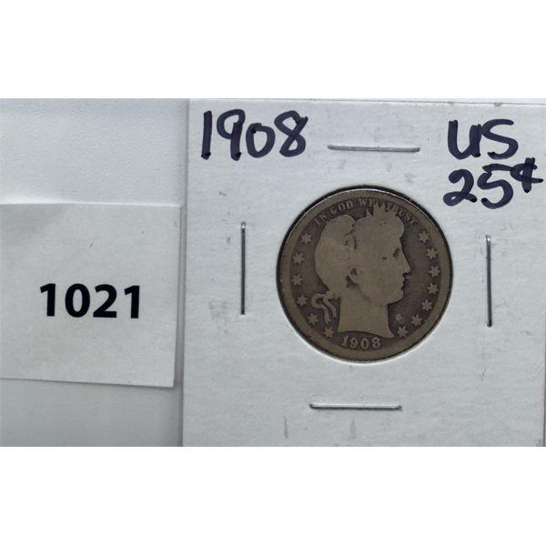 1908 US SILVER TWENTY-FIVE CENT PIECE