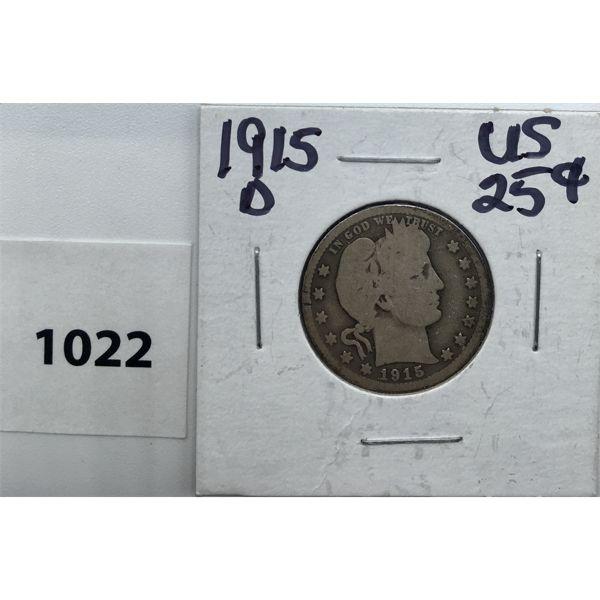 1915-D US SILVER TWENTY-FIVE CENT PIECE