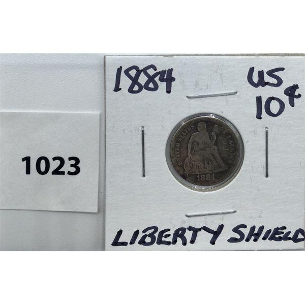 1884 US SILVER TEN CENT PIECE